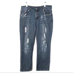 Apollo Jeans Mid-Rise Straight Rips/Paint/Studs 13